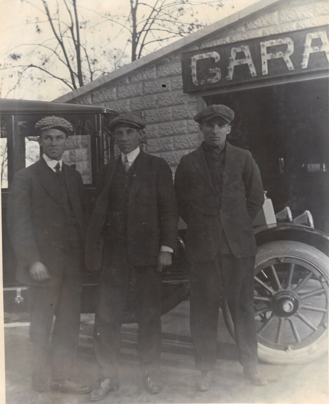 1916 - Original owners of Rockville Garage. From left: Roy Warfield - Lewis Reed - Griffith Warfield.