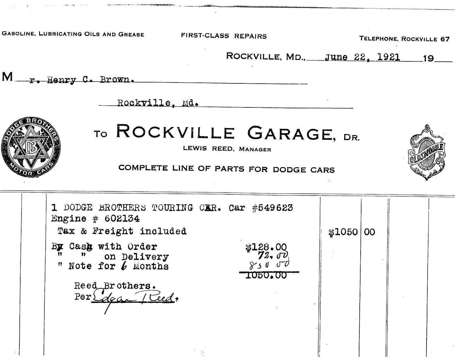 First Car Invoice | Reed Brothers Dodge History 1915 – 2012