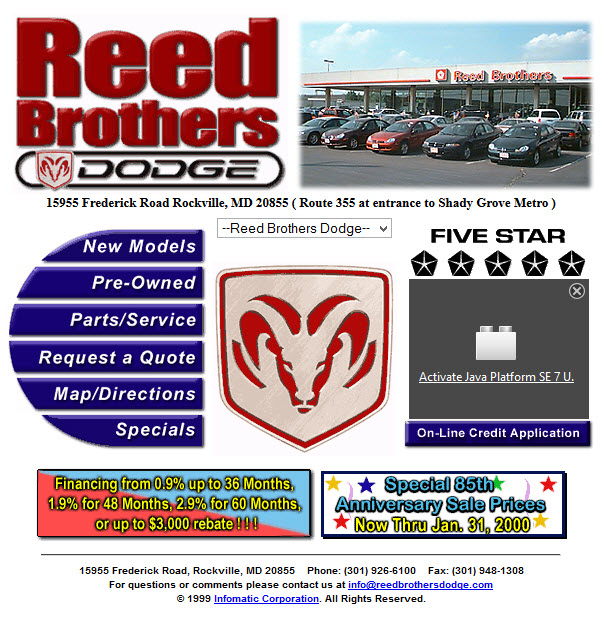 "Reed Brothers Dodge first webpage ""homepage"""