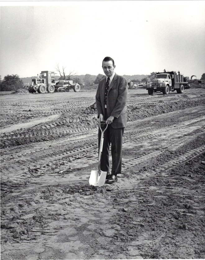 Lee Gartner with ground breaking shovel