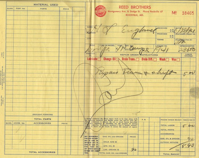 Reed Brothers Dodge & Plymouth Service Invoice - June 28, 1944
