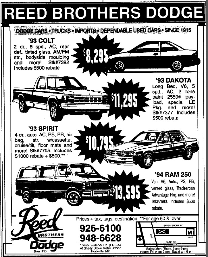 Ads Through the Years | Reed Brothers Dodge History 1915 – 2012