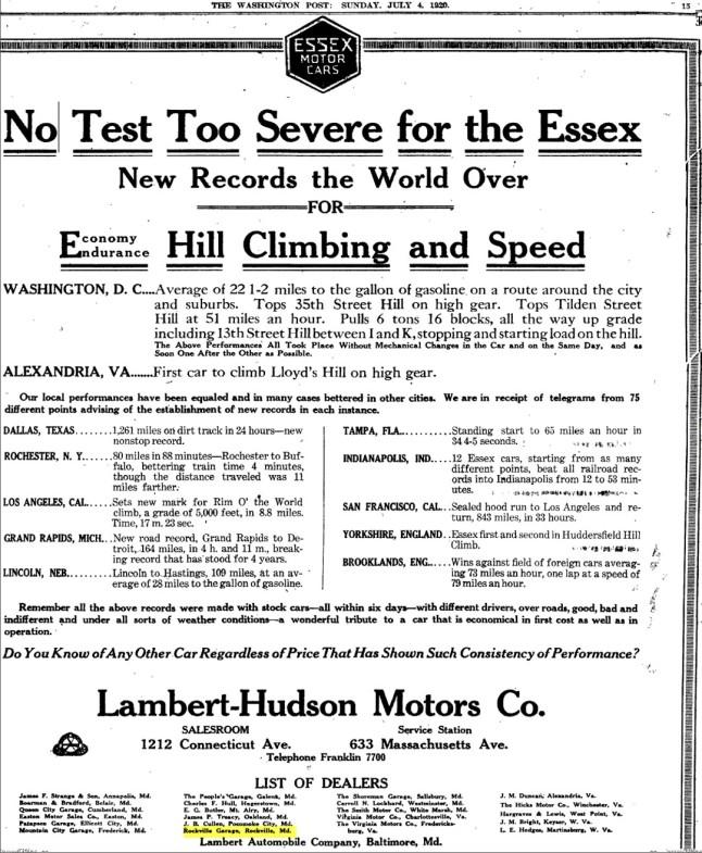 Rockville Garage – The Washington Post, Sunday, July 04, 1920, Washington, District Of Columbia