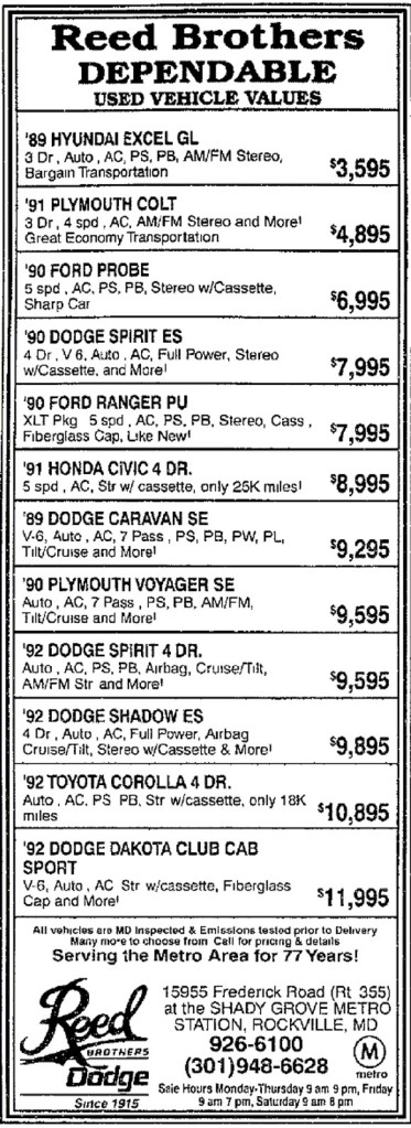 Reed Brothers Dependable Used Vehicles THE FREDERICK POST, FREDERICK, MD , FRIDAY, AUGUST 6, 1993