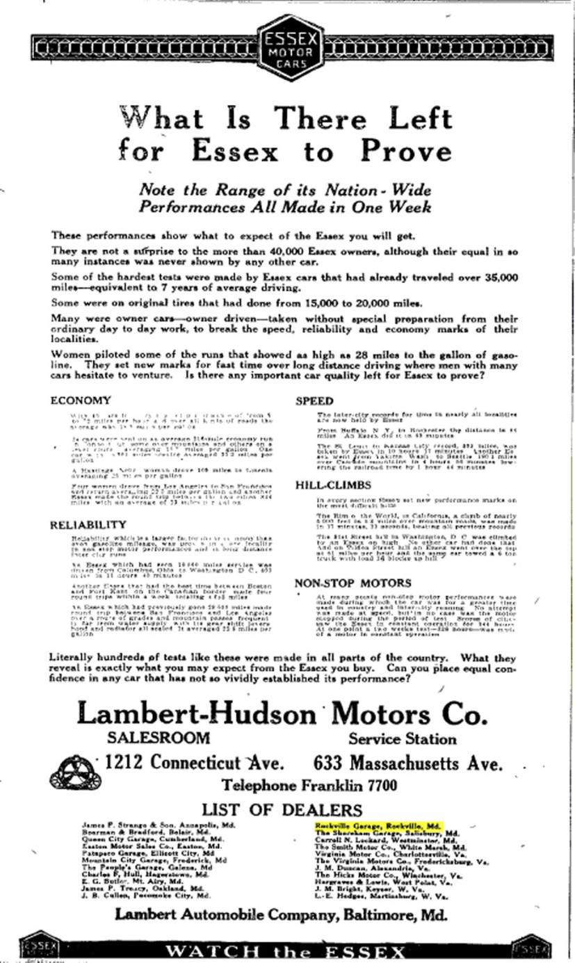 Rockville Garage – The Washington Post Sunday, August 08, 1920, Washington, District Of Columbia