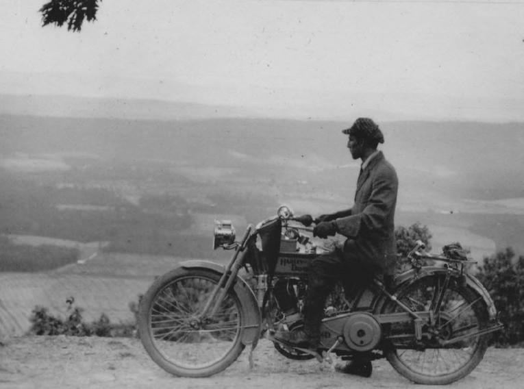 Lewis Reed on Harley Davidson circa 1915
