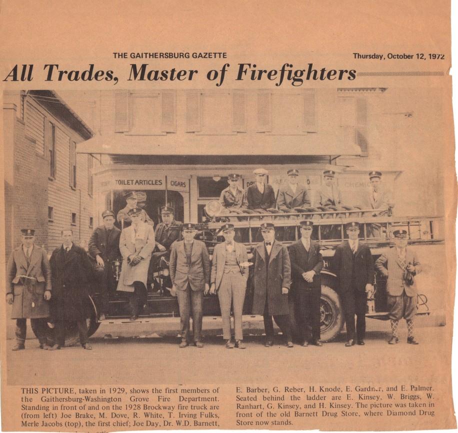 1929 Gaithersburg Washington Grove Fire Dept