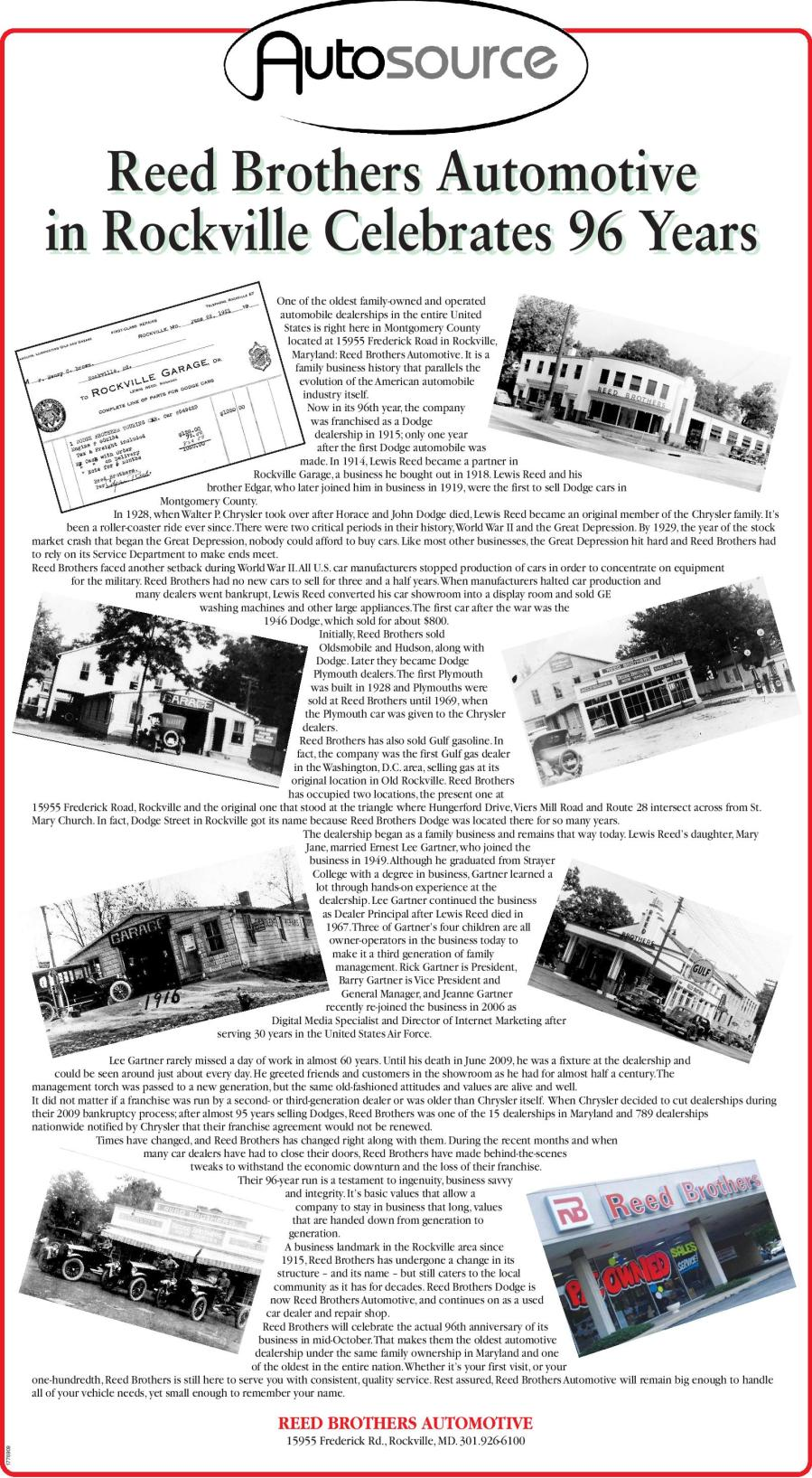 Reed Brothers 96 History Article