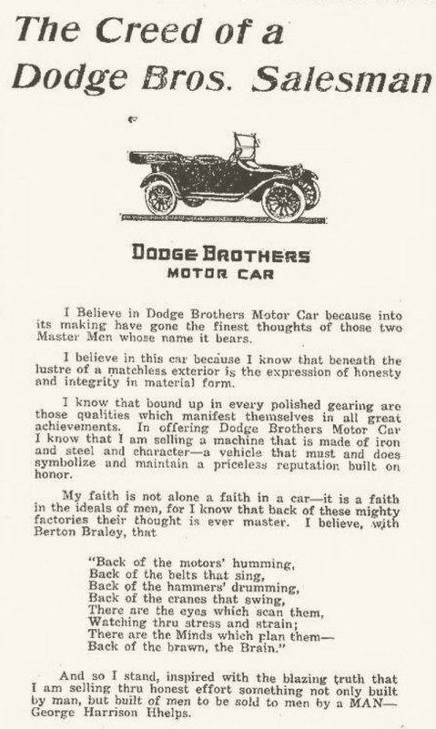 Creed of Dodge Brothers Salesman Spirit Lake Beacon Thursday, May 13, 1915