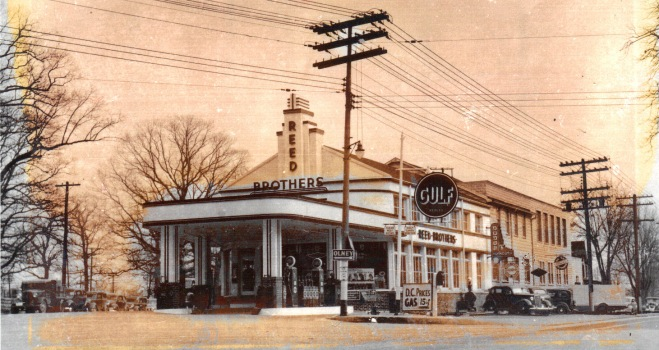 Reed Brothers Dodge canopied Gulf Gas Station circa 1936. View Rockville Pike side
