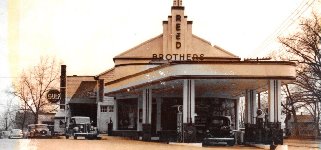 Reed Brothers Dodge canopied Gulf Gas Station circa 1936.