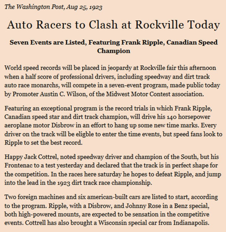 1923 auto races at Rockville Fair