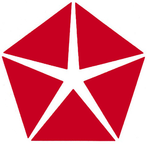 Red Chrysler Pentastar logo, used 1966–1996