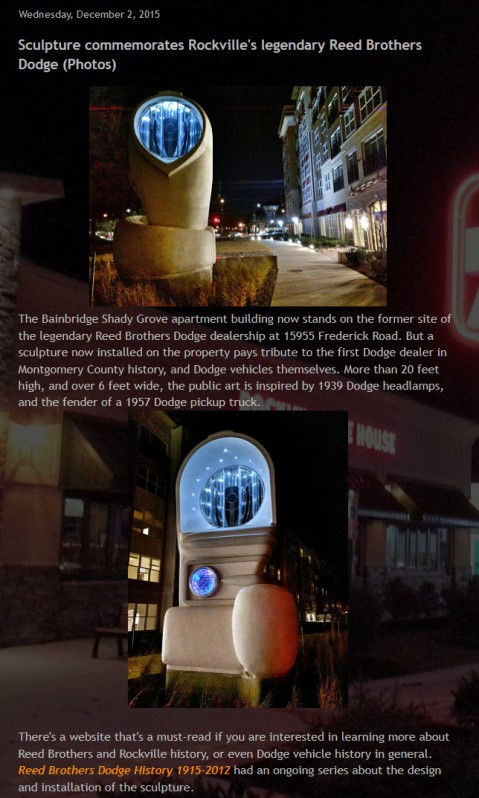 Sculpture commemorates Rockville's legendary Reed Brothers Dodge