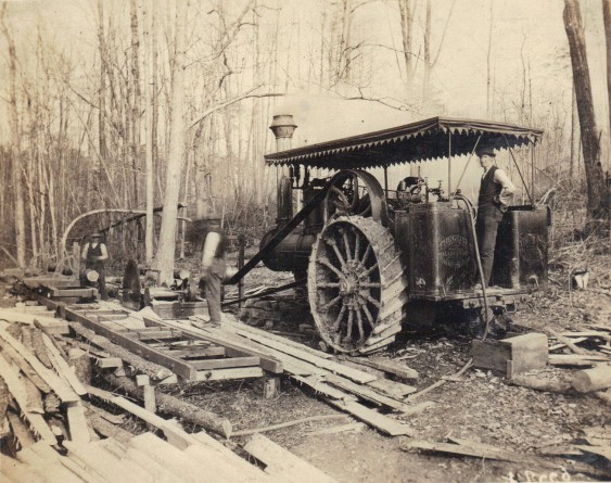 STEAM POWERED SAW MILL WITH ROOF