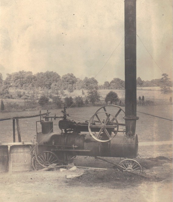 Portable engine with chimney