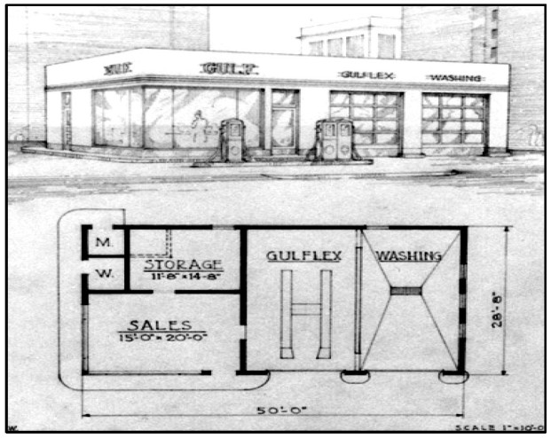 1940 architectural plan and rendering of a Gulf service station