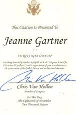 Citation from Congressman Chris Van Hollen