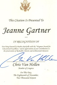 Citation from Congressman Chris Van Hollen
