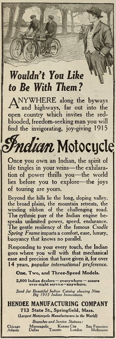 1915 advertisement for the Indian Motocycle