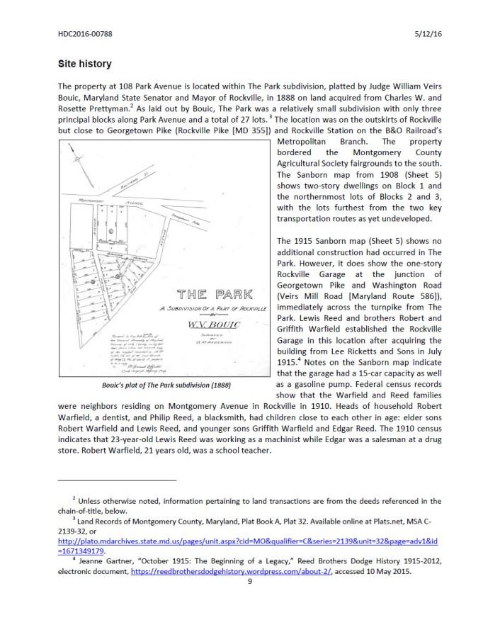 Site History Rockville Garage