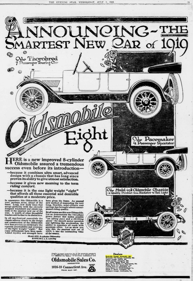 1919 Oldsmobile Sales Company Ad