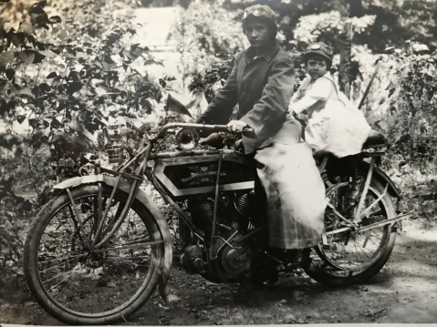 mother and daughter on excelsior motorcycle