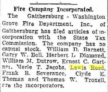 Gaithersburg Washington Grove Fire Company Incorporated 1928