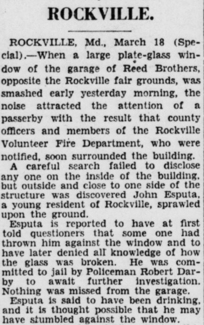 Drunk Falls Through Reed Brothers Window The Evening Star Washington, DC Monday March 18, 1929