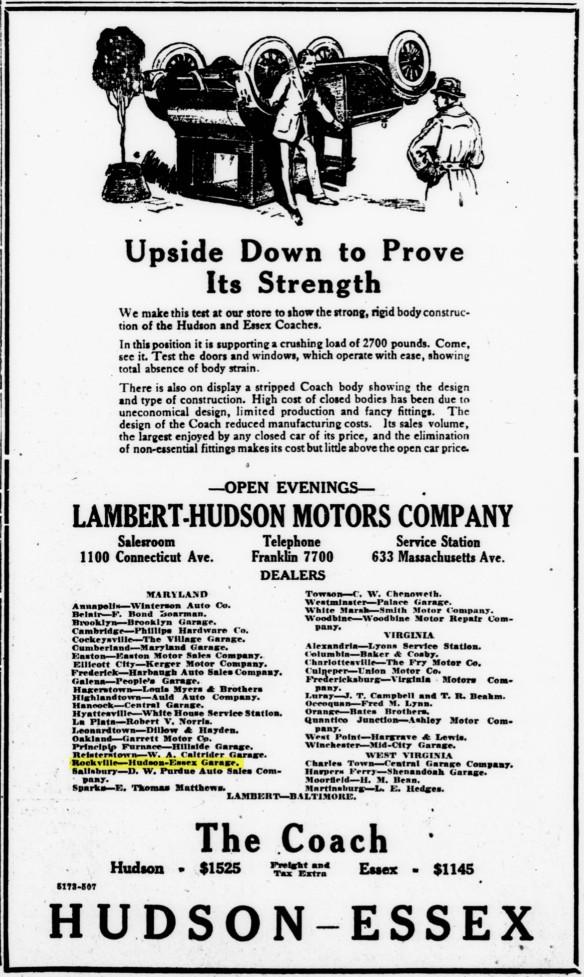 1923 Rockville Garage Ad