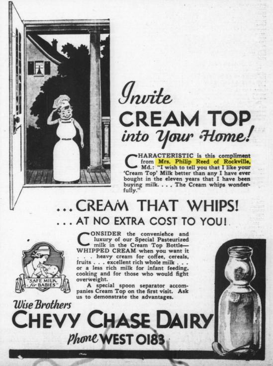Cream top milk ad 1930