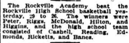Rockville Academy Basketball 1915