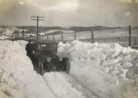 old car in snow