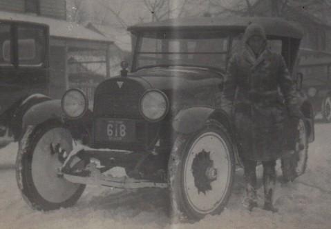 vintage car in snow