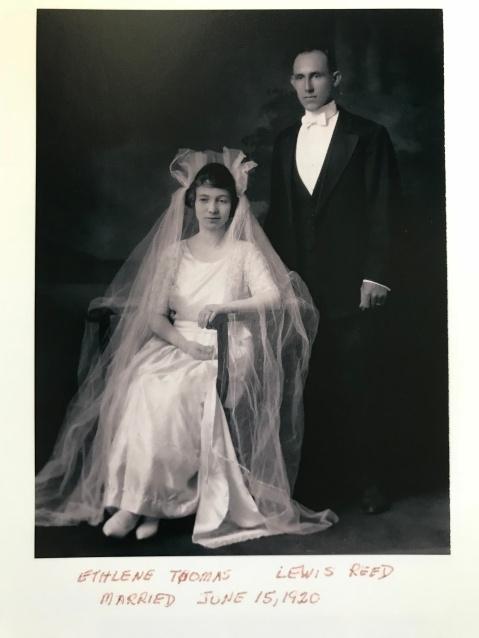Lewis and Ethelene Reed wedding June 1920