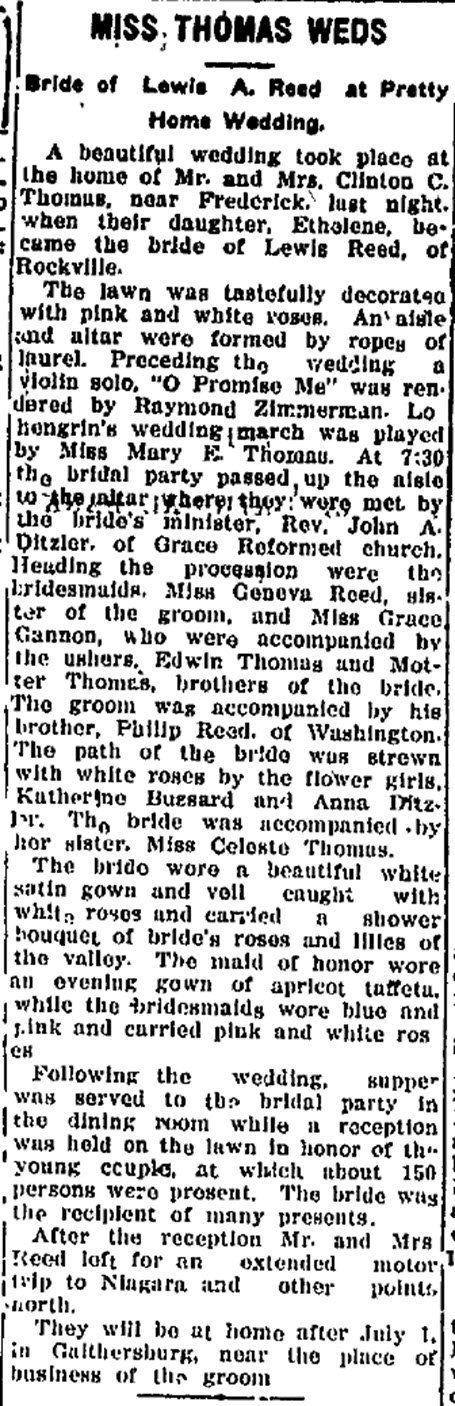 Reed Wedding The Daily News, Frederick, MD Wed June 16,1920