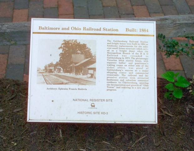 Baltimore & Ohio Railroad Station Marker in Gaithersburg