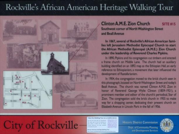 Clinton A.M.E. Zion Church Marker in Rockville