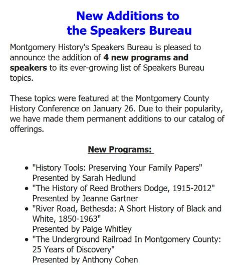 Montgomery History Speakers Bureau