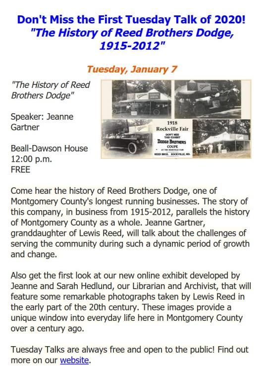 Montgomary History Tuesday Talks